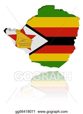 Zimbabwe map flag with reflection