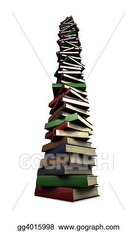 Dessins Enorme Pile Livres Gg4015998 Illustration De