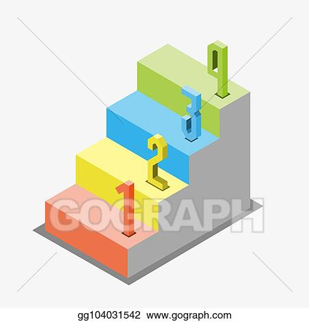 Vector Illustration 1 2 3 Steps Stair Isometric View Infographic