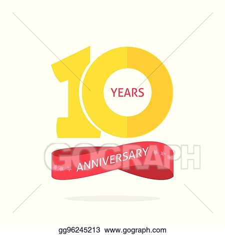 Vector Art 10 Years Anniversary Logo Template 10th Anniversary