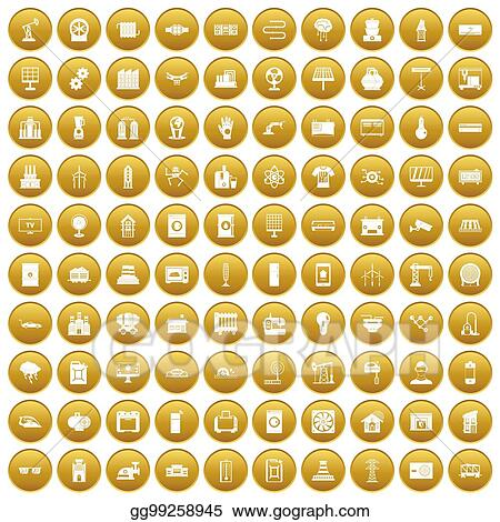 Drawing 100 Electrical Engineering Icons Set Gold Clipart Drawing