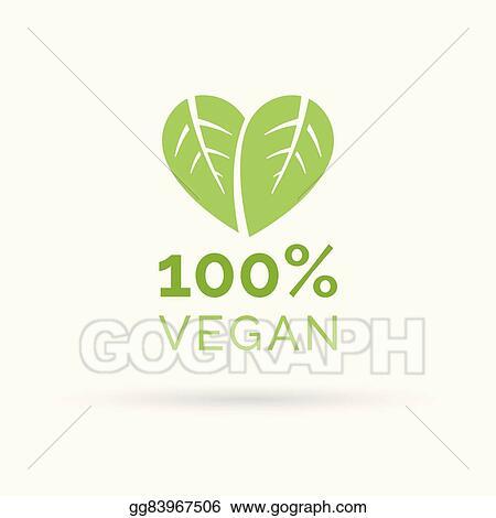 EPS Vector - 100% vegan food icon design vector symbol