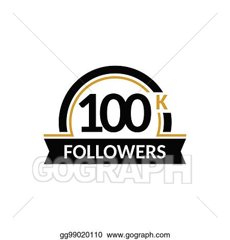 vector stock 100000 followers and friends 100k anniversary