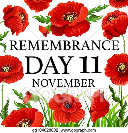 Vector Art 11 November Poppy Remembrance Day Vector Card