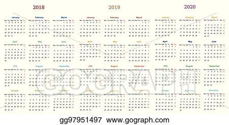 Eps Illustration 12 Month Calendar Design 2018 2019 2020 Vector