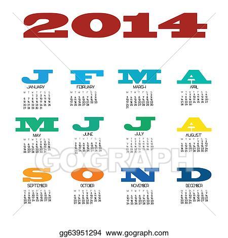 vector stock 12 month calendar for 2014 clipart illustration