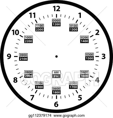 Military Time Clock >> Vector Art 12 To 24 Hour Military Time Clock Conversion Template