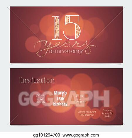 15 Years Anniversary Invitation To Celebration Vector Illustration