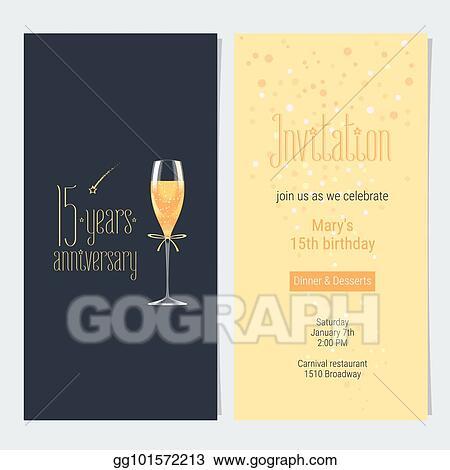 Eps Vector 15 Years Anniversary Invitation Card