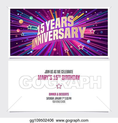 Vector Art 15 Years Anniversary Invitation