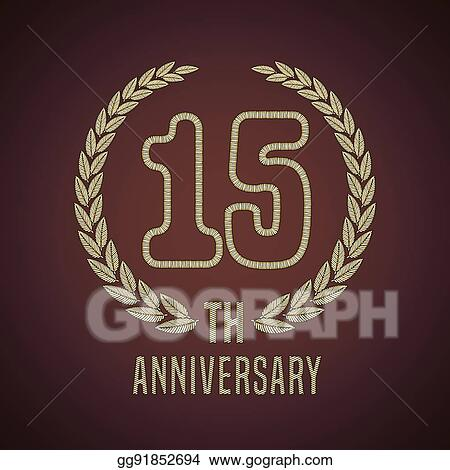 Vector Illustration 15 Years Anniversary Vector Icon Logo Stock