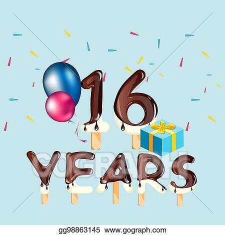 Vector Illustration 16 Years Birthday Celebration Greeting Card