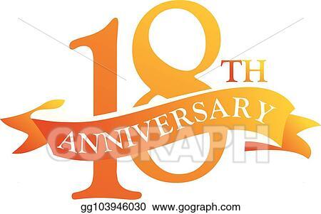 Vector Art 18 Year Ribbon Anniversary Clipart Drawing Gg103946030