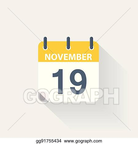 EPS Vector - 19 november calendar icon  Stock Clipart