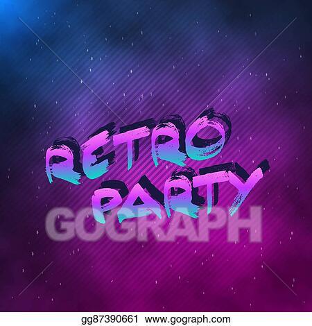 Vector Clipart - 1980 retro party neon poster retro disco