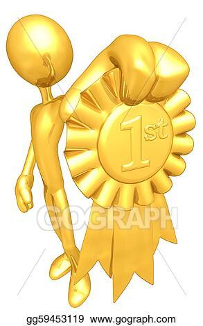 stock illustration 1st place gold ribbon award clipart gg59453119