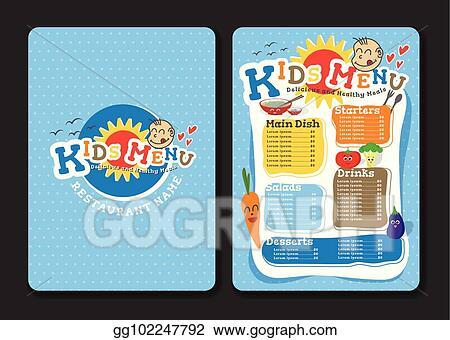 vector illustration 2 pages kids menu design with vegetable for