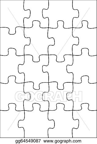 drawings 20 piece blank puzzle stock illustration