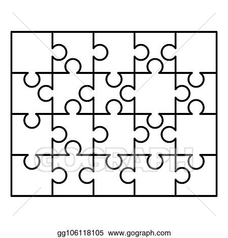 20 White Puzzles Pieces Arranged In A Rectangle Shape Jigsaw Puzzle Template Ready For Print Cutting Guidelines On