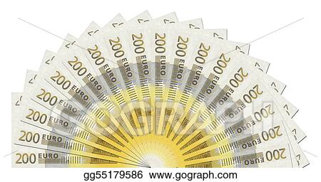 clipart 200 euro notes half circle template stock illustration
