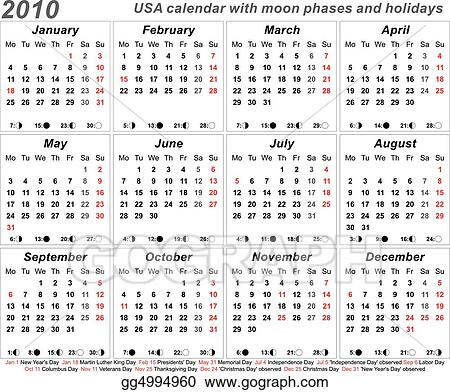 Vector Art 2010 Usa Calendar Clipart Drawing Gg4994960 Gograph