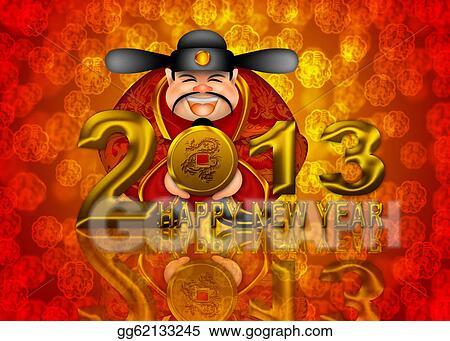 2013 happy new year chinese money god illustration
