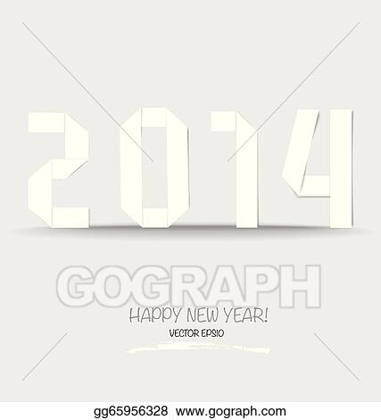 Vector stock 2014 happy new year greeting card made in origami 2014 happy new year greeting card made in origami style vector illustration m4hsunfo