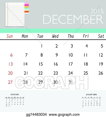 Vector Art 2015 Calendar Monthly Calendar Template For December