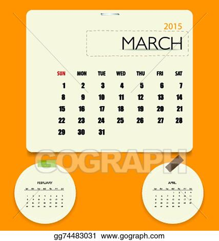 Eps Vector 2015 Calendar Monthly Calendar Template For March
