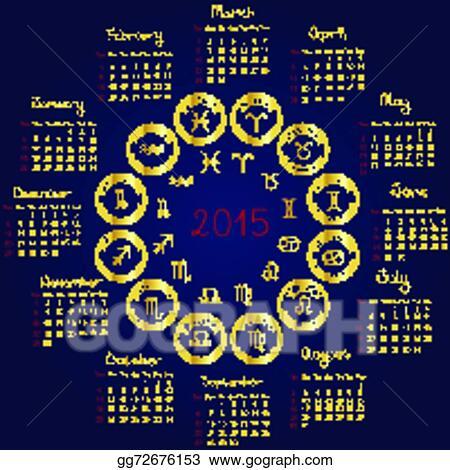 Horoscope Calendar.Vector Art 2015 Horoscope Calendar Clipart Drawing Gg72676153