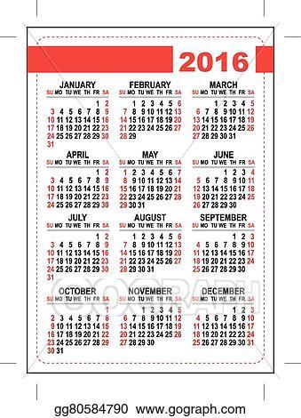 Vector Stock 2016 Pocket Calendar Template Grid Stock Clip Art