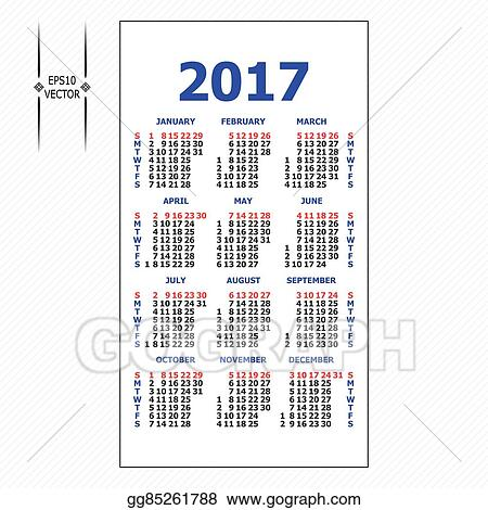 Vector Illustration 2017 Pocket Calendar Template Calendar Grid
