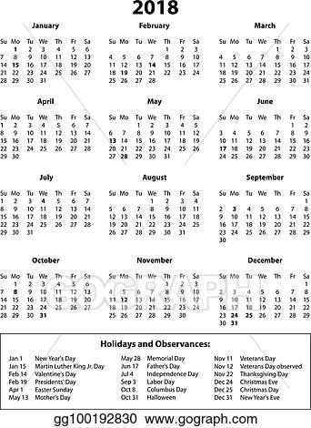 Vector Art 2018 Calendar Months And Holidays B W Clipart Drawing