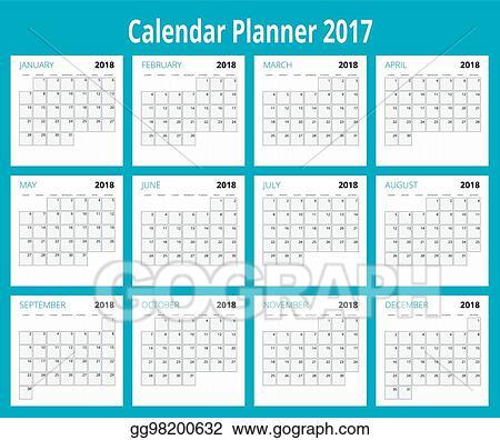 Vector Art 2018 Calendar Print Template Week Starts Sunday