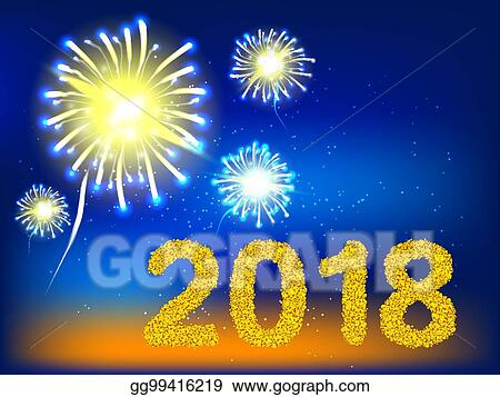 2018 golden number with firework