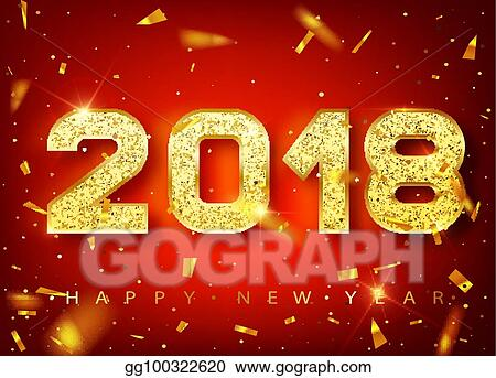 2018 happy new year gold numbers design of greeting card of falling shiny confetti gold shining pattern happy new year banner with 2018 numbers on red