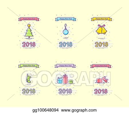 2018 happy new year mbe style design set colored ribbon with happy new year text and christmas tree toy bells sock and gift boxes vector new year