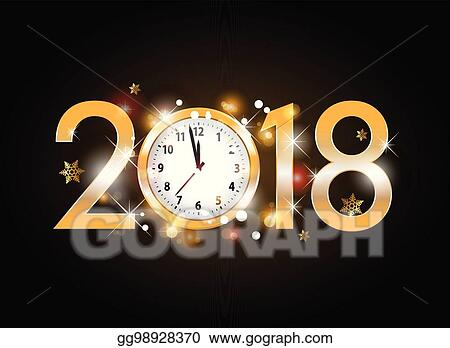2018 new year golden letters with clock on black background
