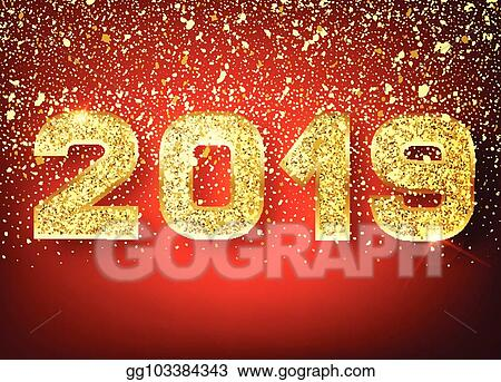 2019 happy new year gold numbers design of greeting card of falling shiny confetti gold shining pattern happy new year banner with 2019 numbers on red