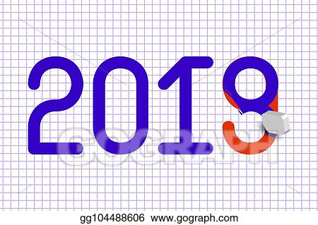 2019 new year eraser erases a number 8 under which red the number 9 background page from a school squared notebook 31 december