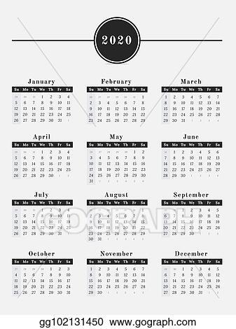 Calendar Year 2020.Vector Illustration 2020 Year Calendar Vertical Design Stock Clip