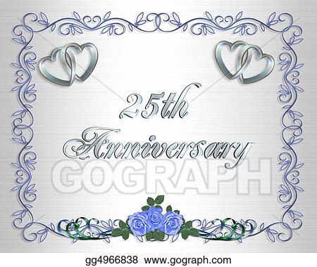 clip art 25th wedding anniversary border stock illustration
