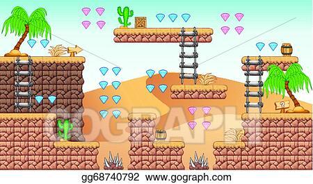 EPS Illustration - 2d tileset platform game 11  Vector