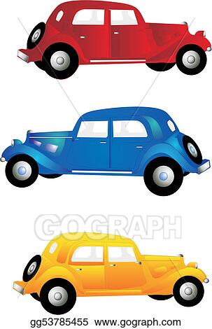 vector art 3 vintage cars clipart drawing gg53785455 gograph rh gograph com vintage race car clipart old car clipart