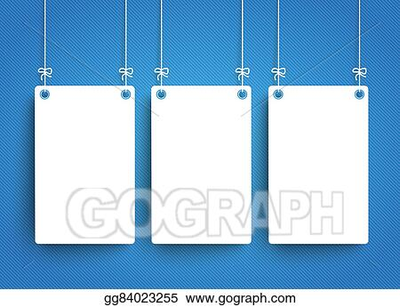 Clipart - 3 white hanging paper frames blue background. Stock ...