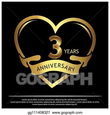 Vector Stock 3 Years Anniversary Golden Anniversary
