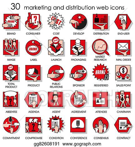 Vector Art 30 Marketing And Distribution Web Icons Eps Clipart