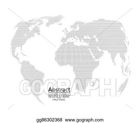 3d abstract world map planet dots global halftone map concept