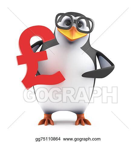 Clip Art 3d Academic Penguin Holding A Uk Pounds Symbol Stock