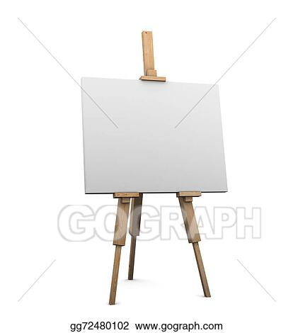 Clip Art 3d Artists Easel With Blank Canvas Stock Illustration